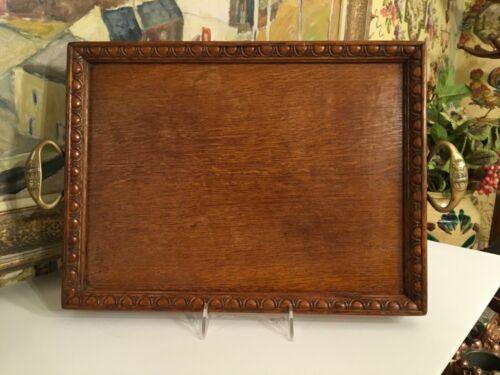 Vintage 1930s English Decorative Wood Oak Tray Bronze Handles