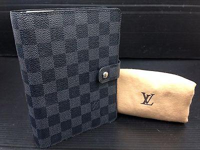 Auth Louis Vuitton Damier Dark Gray Desk Agenda Mm Day Planner Cover 7a100390m