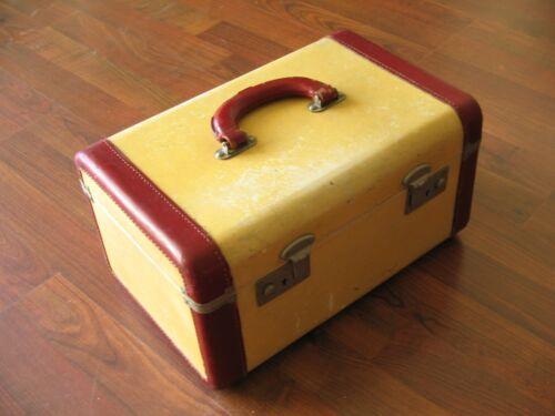 Vtg Rare Train Make-Up Cosmetic Case Suitcase w/Mirror No Key Victor Cowhide
