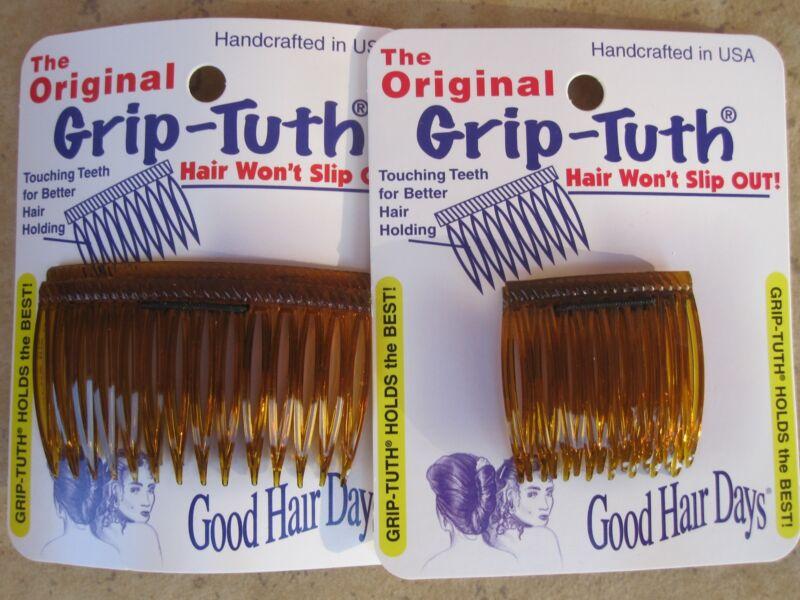 "2 Sets of 2 Shell Grip Tuth Hair Combs (2) 1 1/2"" (2) 2 3/4""= 4 Good Hair Days"