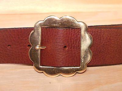 Brass Flower 2 Inch Leather Belt Waist Size Width Mens Ladies Black Brown Tan