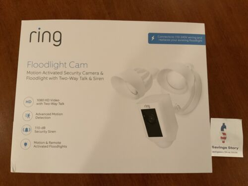 Ring Floodlight Camera Motion-Activated HD Security Cam, Whi