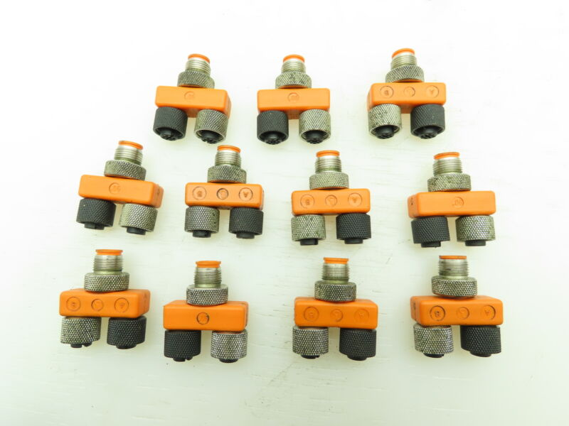 Lumberg M12-4 Splitter Cable T-Connector M12 3 Pole LOT of 11