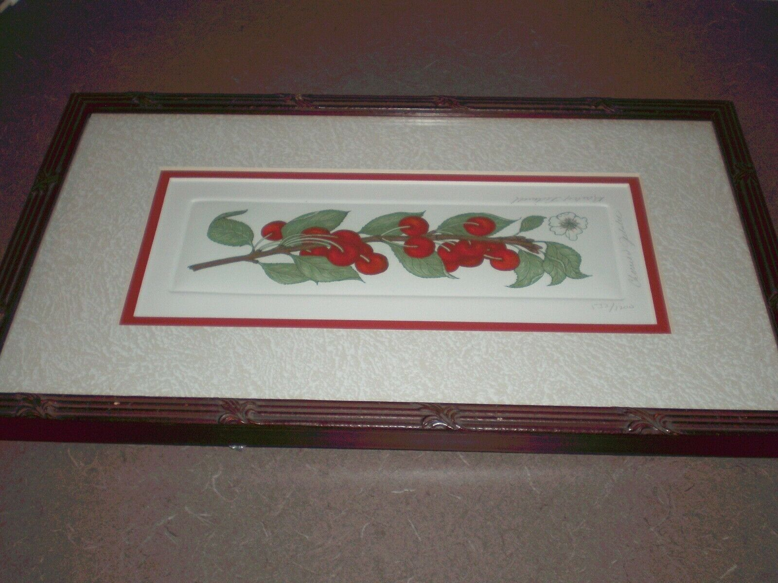 Bailey Tidwell Signed Numbered Framed Art Print CHERRIES JUBILEE CHERRY PIC - $18.95