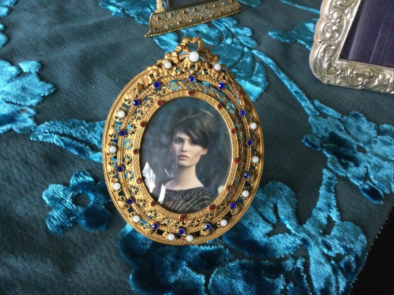 Antique Czech Glass Jeweled Ormolu Picture Photo Frame