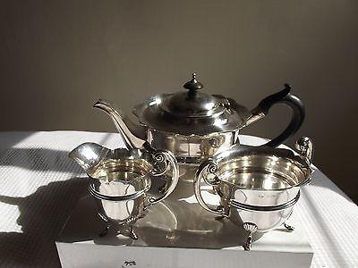 Antique Solid Silver three piece circular tea set, Birmingham 1904/5, 712g