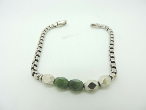 "David Yurman ""The Chain Collection"" Faceted Metal Bead Bracelet with Jade"