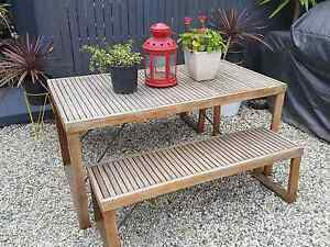 Outdoor wooden rustic table and bench seat Freedom Furniture Greenvale Hume Area Preview