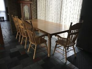Solid Butternut Harvest Table + 10 Solid Oak Dining Room Chairs