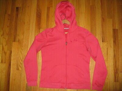 Under Armour Women's Sz Medium Meas Pink L/S Full Zip Fleece Hoodie Sweatshirt