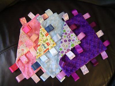 Minky Taggy Blankets, Comforters/Security, Many Designs and Sizes