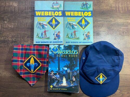 Webelos lot Scarf Neckerchief, Books & Hat BSA Boy Scouts