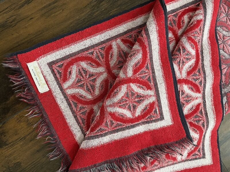 Vintage Lady Pepperell Reversible Red Bath Towel 41 X24