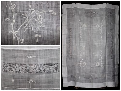 Antique Appenzell Whitework Embroidery Drawn Work Needle Lace White Tablecloth