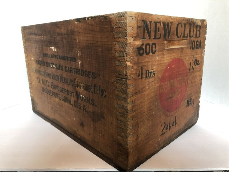 Antique Remington Wooden Ammo Shipping Crate New Club 600 10 Ga
