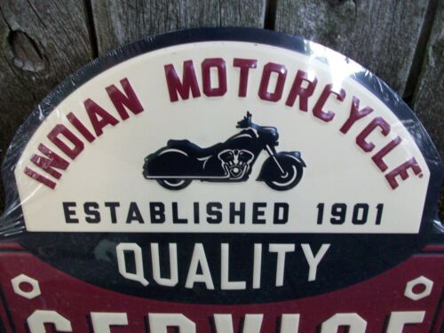 Indian Motorcycle Quality Service Bike Biker Embossed Tin Metal Wall Sign