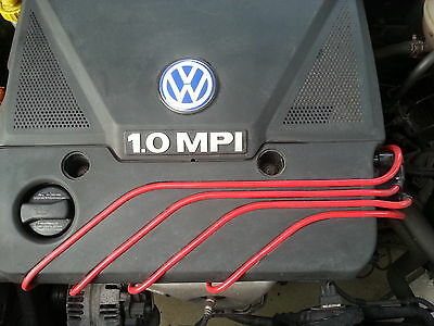 RED 8MM IGNITION LEADS PERFORMANCE LEADS WILL FIT. VW GOLF POLO LUPO 1.0 1.4 HT.