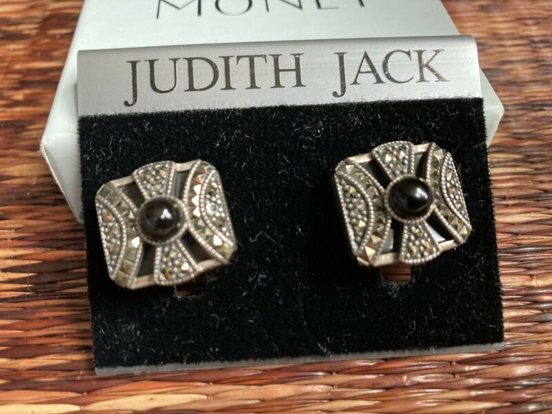 SIGNED JUDITH JACK STERLING SILVER MARCASITE CLIP ON EARRINGS