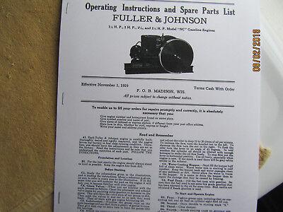 1929 1 12 - 2 12hp Nc Fuller Johnson Gas Engine Instructionsparts Manual