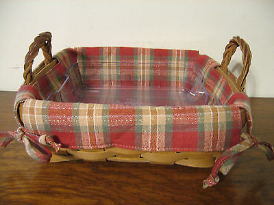 NEW Longaberger Orchard Park Plaid Liner 4 Your Small SQUARE Serving Basket MIOB