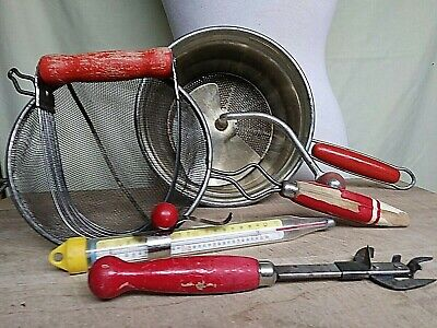 Vintage Lot/71940'S  KITCHEN UTENSILS Tools w/RED WOOD HANDLES Made USA
