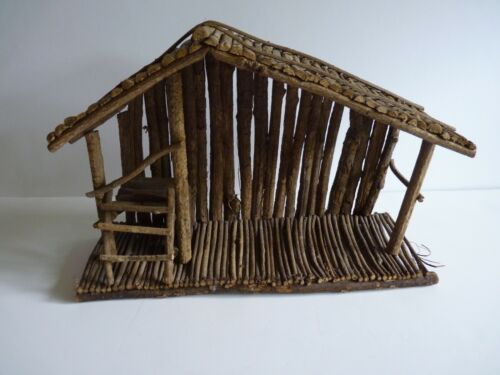 Rustic Wood Twigs Nativity Stable Barn Creche