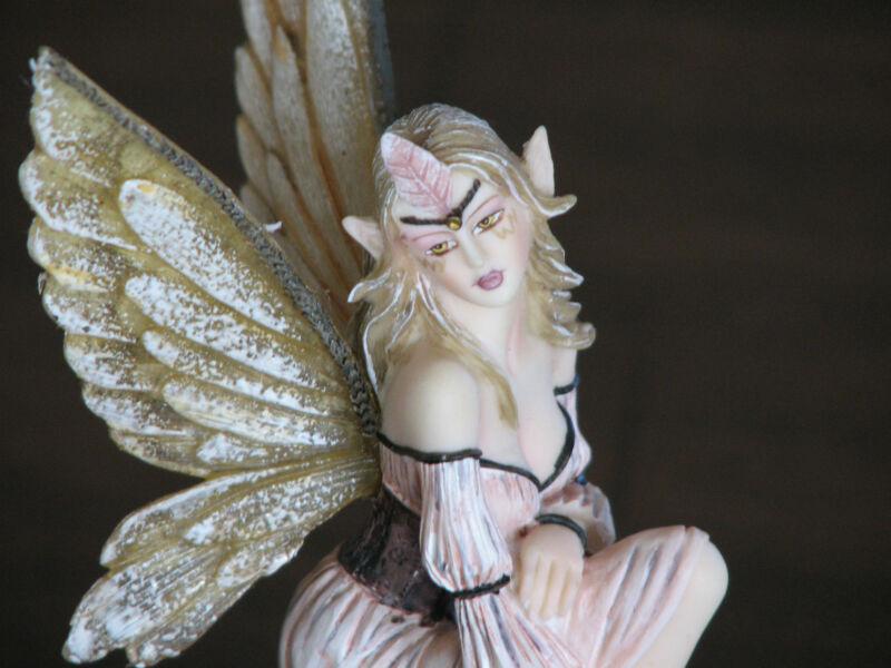Fairy with Golden Wings, Sitting on Log with Mushrooms ~ Made with Resin