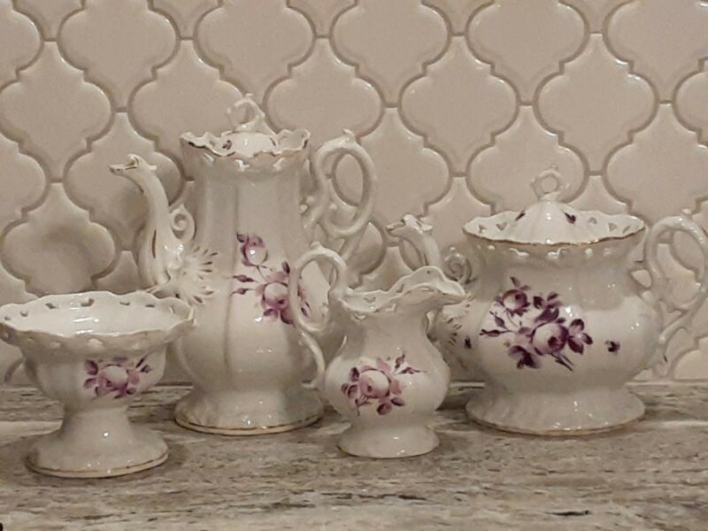 Gorgeous ANTIQUE 1840s CARL TIELSCH Altwasser Porcelain TEA COFFEE TEAPOT SET