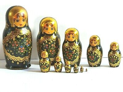 Ceprueb Nocag Hand Painted Gold Leaf Nesting Dolls Set of 11 dolls