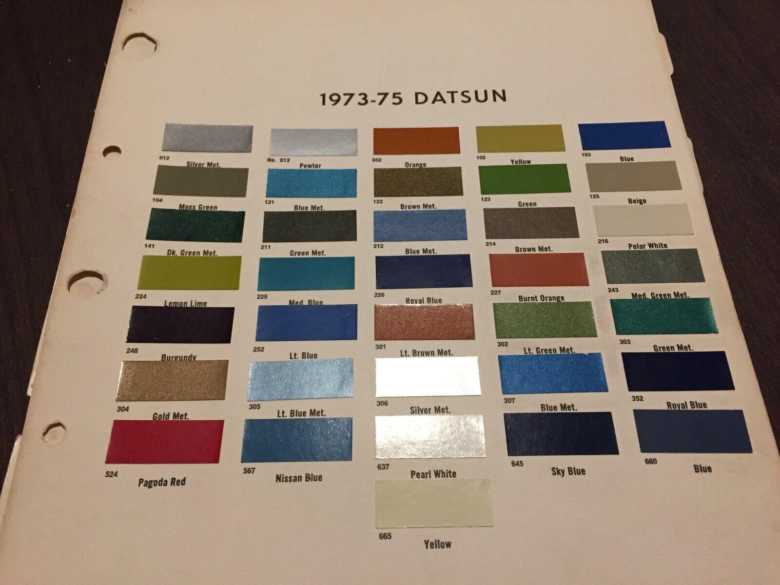 1973,1974, DATSUN    ALL MODELS   PAINT CHIP CHART.     ORIGINAL