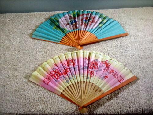 2 Vintage Japanese Folding Fans Multicolor Paper Bamboo Wood Flower Design Sensu