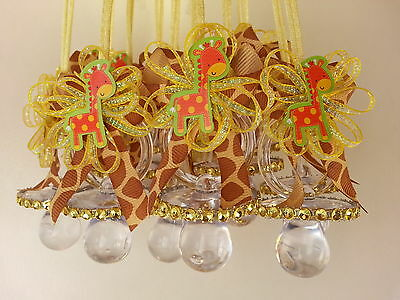 12 Giraffe Pacifier Necklaces Baby Shower Games Prizes Favors Jungle Safari - Baby Shower Safari Games