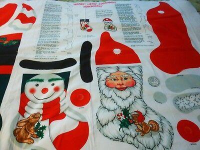 y Cane Christmas Stockings panel-Santa & Snowman(22