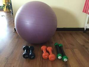 Gym ball + dumbbells (3 pairs) Bundoora Banyule Area Preview