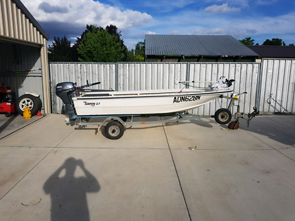 3.7m boat, trailer and motor