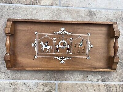 ANTIQUE WOODEN TRAY WITH MARQUETRY AND BONE INLAY DETAILS, EGYPTIAN