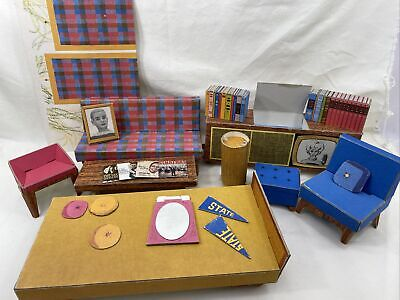 Vintage 1962 Barbie's Dream House Cardboard Furniture and Accessories