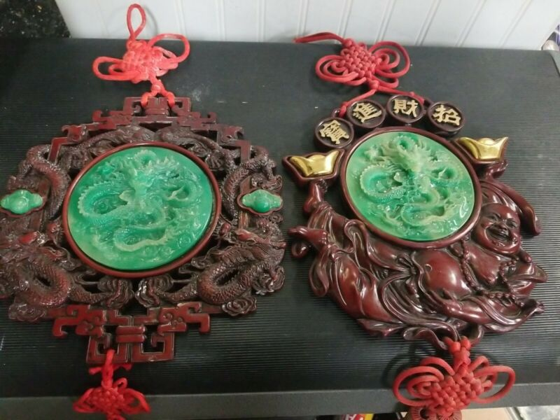 Rare Oriental Green Dragon Beijing Glass & Resin, Red Lucky Knot Tassels  Decor