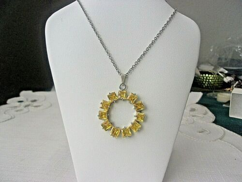 Kirks Folly Silver Tone Circle W/ Yellow Crystals Necklace
