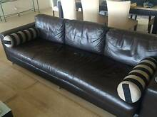 Chocolate Brown Leather Lounge and Ottomon Balgowlah Heights Manly Area Preview