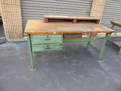 Vintage Lyon 6ft Butcher Block Work Bench W Drawer Green Legs Antique Factory 4