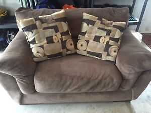 Brown fabric couch, love seat and chair