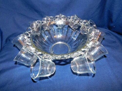 K2 -Imperial Glass USA Crocheted Crystal Punch Bowl with 11 Open Handle Cups