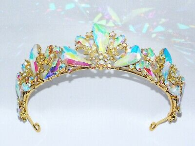 GOLD AB IRIDESCENT RHINESTONE CRYSTAL BEAUTY QUEEN TIARA CROWN BRIDAL PAGEANT - Gold Tiara Crown