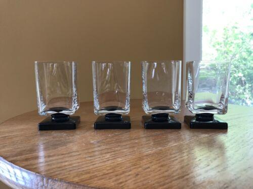 Vintage Square Clear Cocktail Glass w/Black Pedestal Base (4pcs) Bar-Ware