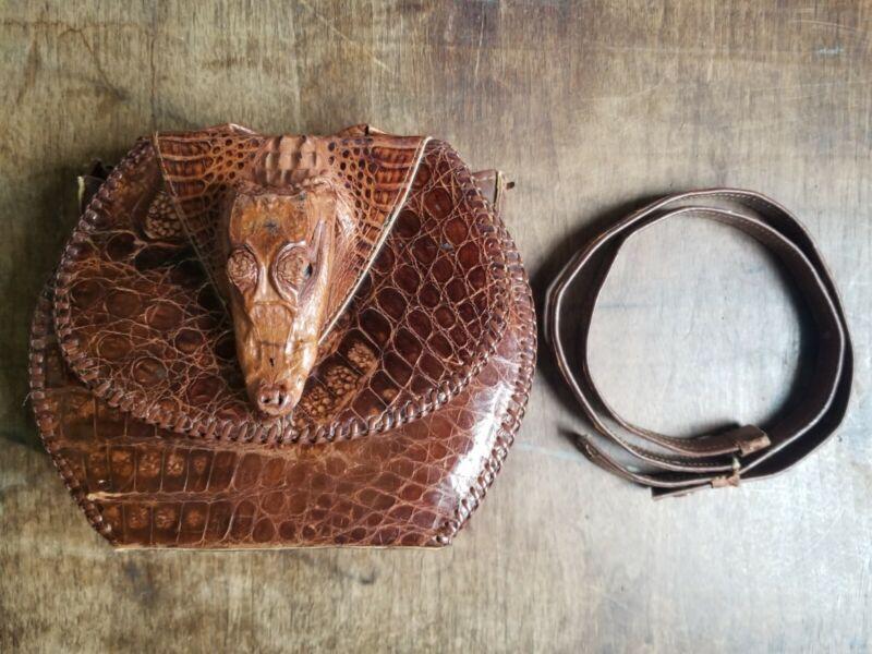 Vintage Caiman Skin leather taxidermy purse bag pocketbook clutch detached strap