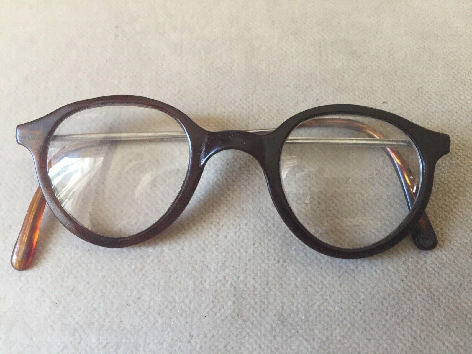 Antik alte ZelluloidHorn Brille, PantoForm, Sattel Steg, ROW, Metall Bügel