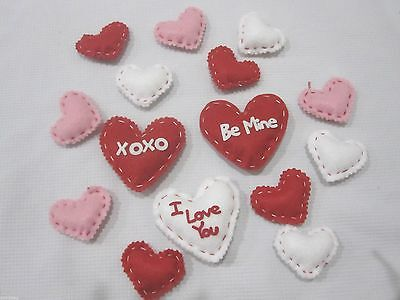 Lot of (15) Valentines Day Hearts Felt Decorations Bowl Basket filler Decor