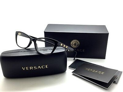 VERSACE VE MOD 3249A GB1 Polished Black / Demo Lens 54mm Eyeglasses