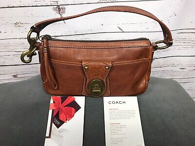 Coach Vachetta Legacy Leather Handbag F063-10326 Striped Lining Whiskey Brown